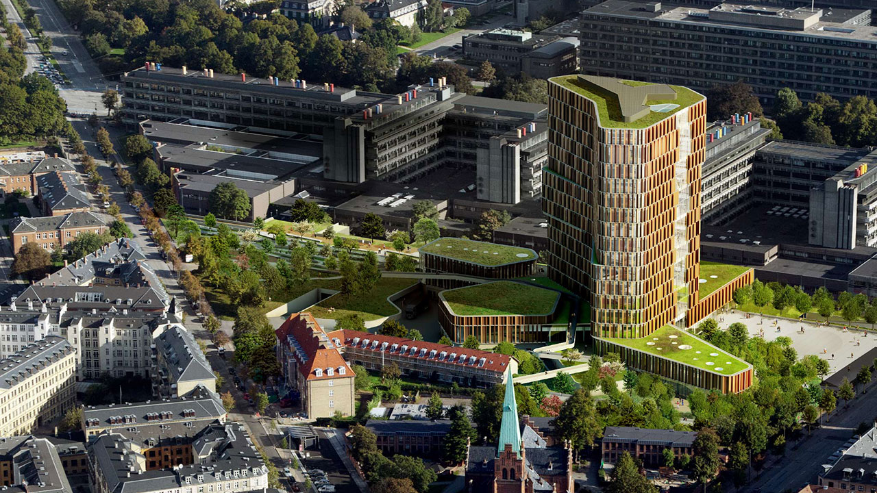 The 42,700 square meter extension of the Panum Complex is to function as a landmark for international healthcare research. Illustration: Architect C. F. Møller/MIR