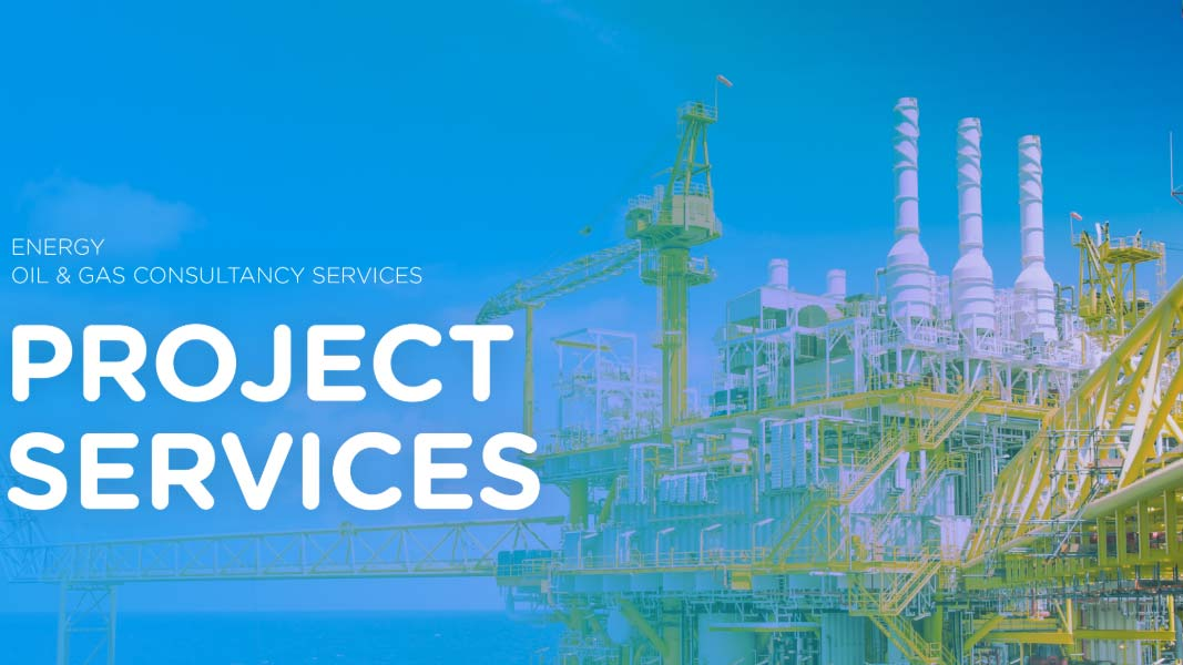 Front page of project services brochure with a platform