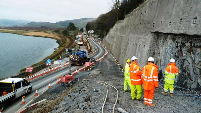 Barry Williams, Ramboll. Rock anchors and stabilisation works on 'Retained Cutting 1' - A487 Bangor to Fishguard Trunk Road Improvement at Glandyfi.