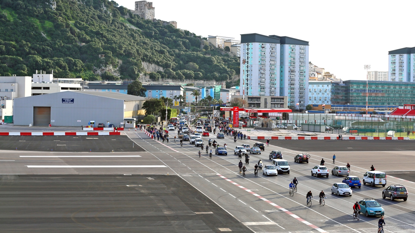 Crossing the runway at Winston Churchill Avenue, Gibraltar. Image: Cpl Scott Robertson RAF Command Photographer British Forces Gibraltar