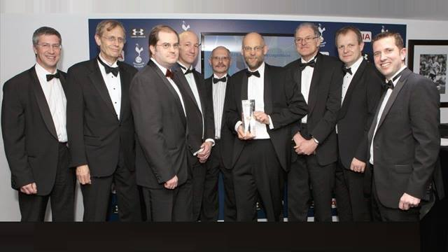 Post Tensioning Assn (PTA). The Hammersmith Flyover (Phase 2) strengthening works receives the PTA 'Project of Special Recognition' award at the White Hart Land stadium, London, April 2016.  Left to Right:  Chris Hendy (Atkins, PTA Judging Panel), David Cooper (Project Director, Flint and Neill), John Maddams (Designer's Site representative, Ramboll), Stuart Moore (London Civils team leader, Ramboll), Kevin Bennet (Sales & Technical Director, Freyssinet), Matthew Collings (Project Director, Ramboll), Paul Jackson (Technical Lead, Ramboll), Steve Denton (Project Director, Parsons-Brinckerhoff), Andy Garton (Bridon International and PTA Chair)