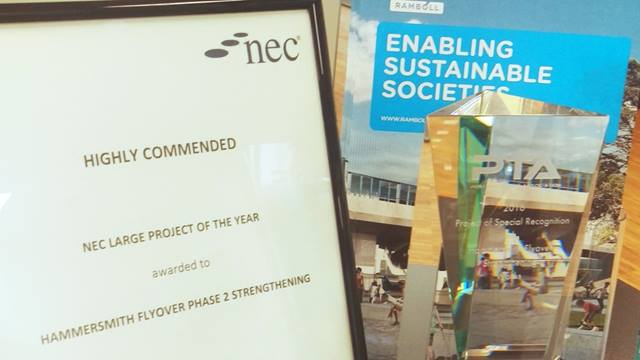 Ramboll. The NEC 'Highly Commended' certificate and the PTA 2016 award for 'Project of Special Recognition'