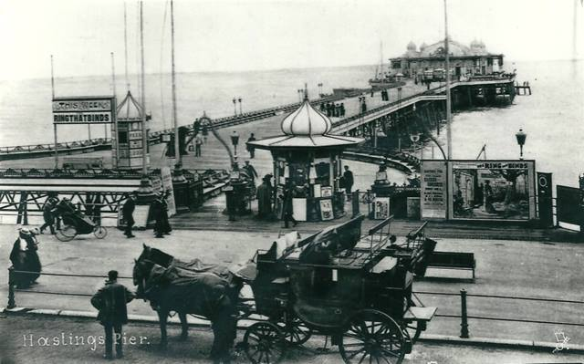 Postcard from 1870s showing the new peerless pier at Hastings. Designed by great pier engineer, Eugenius Birch, and built by R Laidlaw & Son of Glasgow.