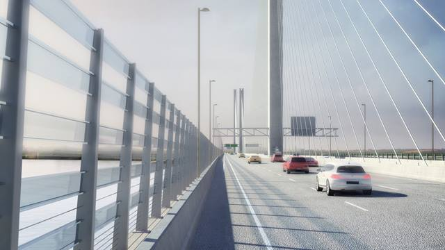 Artist's impression of the drivers' view of The Mersey Gateway. Image courtesy Merseylink