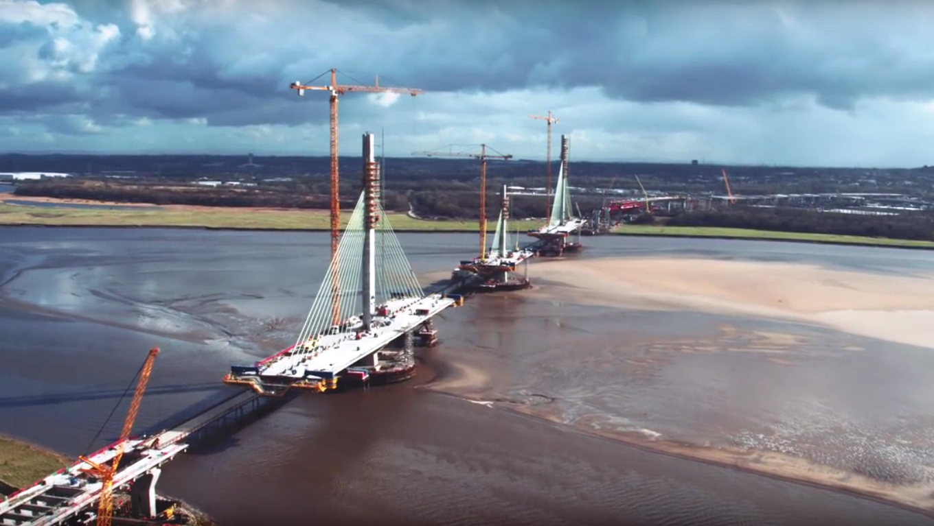Mersey Gateway construction. Image courtesy of DTW and I-Sky Unmanned Systems