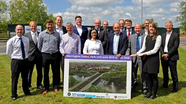 On the left of the group photo Ramboll's Barry Williams and Tom Foster join representatives from the Council, Balfour Beatty and Scape Group, to celebrate the start of work. Photo: Warrington  Borough Council