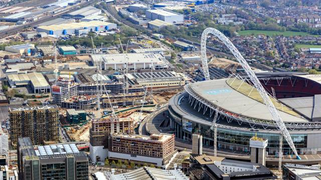 Courtesy of Quintain, Image High Level Photography - Looking east to Wembley stadium, with sites immediately to the left