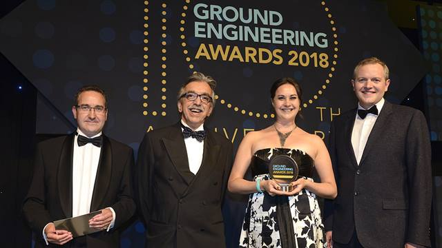 (L-R) GE Award sponsor,  Ramboll's Mohsen Vaziri and Claire Barr and award presenter Miles Jupp